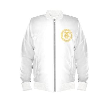 Alesi Custom Bomber Jacket- White/Gold/White