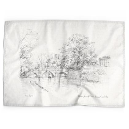 Punting through Clare bridge cotton-linen Tea Towel