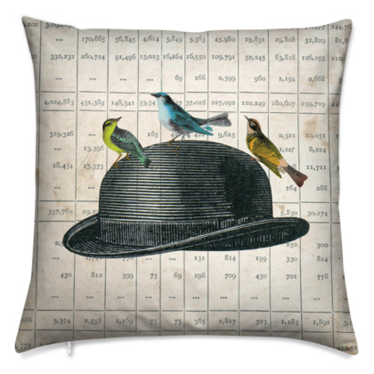 'Bowler Hat with Birds' vintage collage cushion