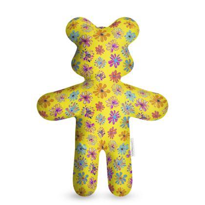 Rainbow Daisies Collection on yellow Teddy Bear