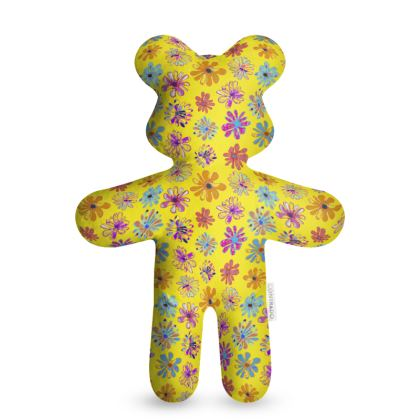 Rainbow Daisies Collection on yellow Teddy Bear