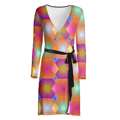 Geometrical Shapes Collection Wrap Dress