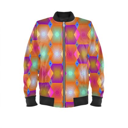 Geometrical Shapes Collection Ladies Bomber Jacket