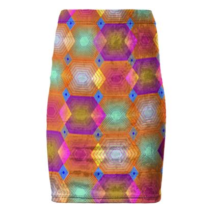 Geometrical Shapes Collection Pencil Skirt