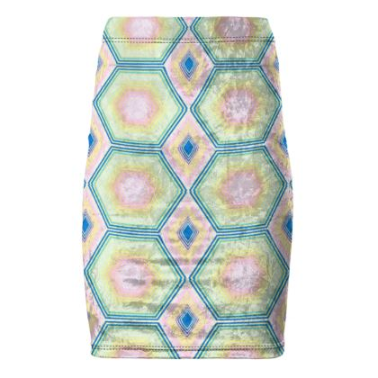Geometrical Shapes in pastel tones Collection Pencil Skirt