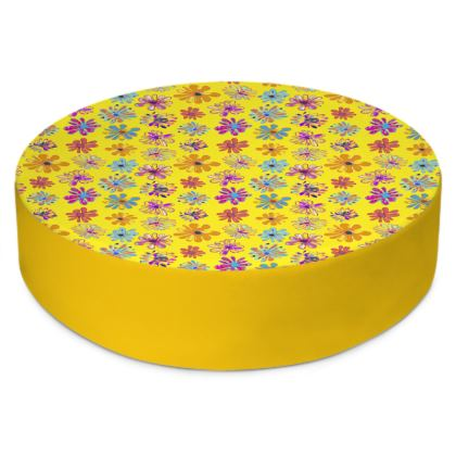 Rainbow Daisies Collection on yellow Round Floor Cushions