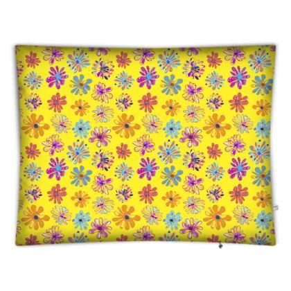 Rainbow Daisies Collection on yellow Floor cushion