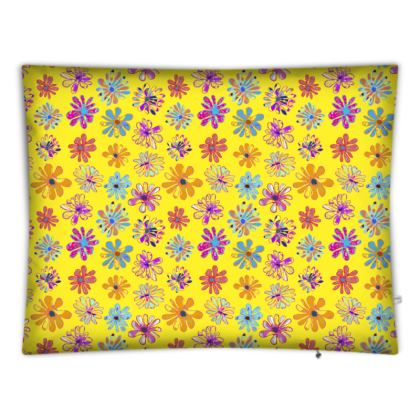 Rainbow Daisies Collection on yellow Floor cushion