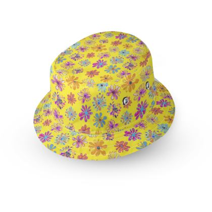 Rainbow Daisies Collection on yellow Bucket Hat