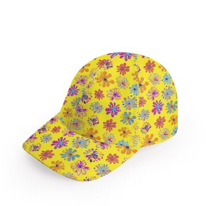 Rainbow Daisies Collection on yellow Baseball Cap