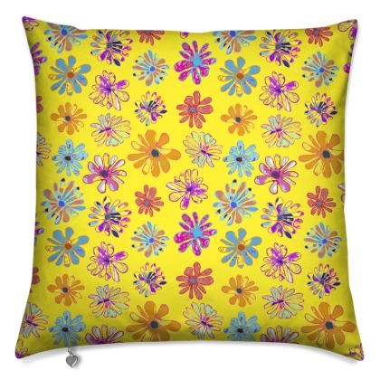 Rainbow Daisies Collection on yellow Cushion