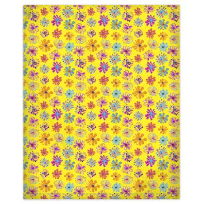 Rainbow Daisies Collection on yellow Duvet Cover
