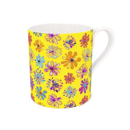 Rainbow Daisies Collection on yellow Bone China Mug