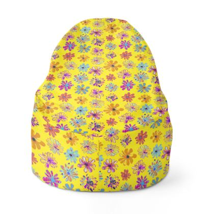 Rainbow Daisies Collection on yellow Bean Bag