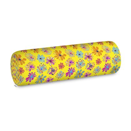 Rainbow Daisies Collection on yellow Big Bolster Cushion