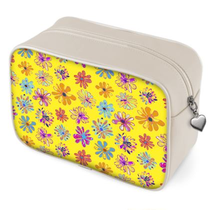 Rainbow Daisies Collection on yellow Wash Bag