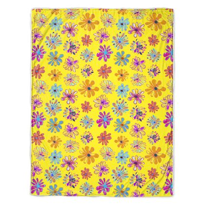 Rainbow Daisies Collection on yellow Throw
