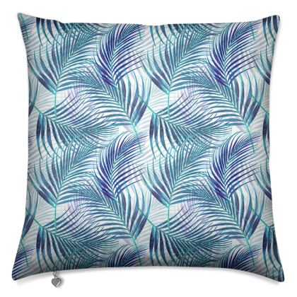 Tropical Garden in Blue Collection Luxury Cushion