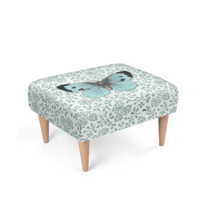 'Single Blue Butterfly' footstool