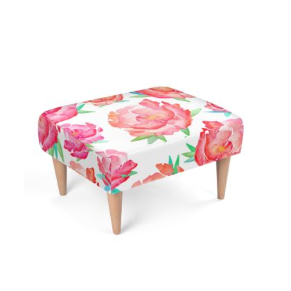 Blushed Out Peony Footstool