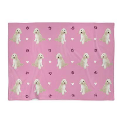 Cream doodle Blanket - pink