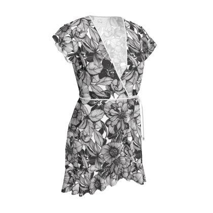 Hellebore lineart florals Tea Dress