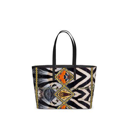 ALLES ital. Nappaleder! Tote Bag aus Leder AFRICAANS unwiderstehlich NEU und Mega dekorativ