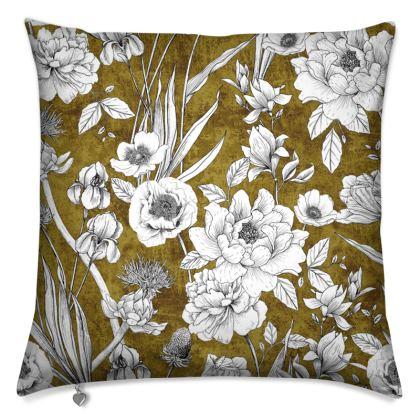 Mustard Botanical Cushions