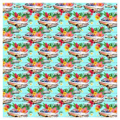 Turqoise Hawaiian Corvair Folding Stool Chair