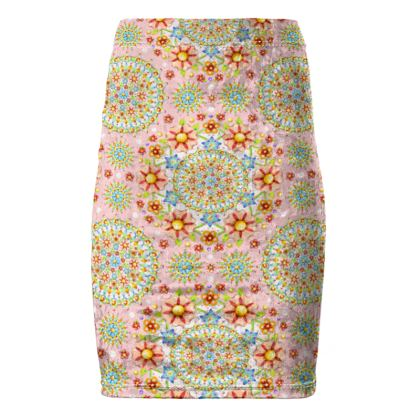 Pink Millefiori Pencil Skirt