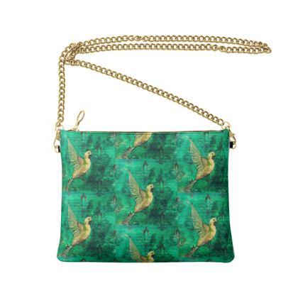 Green hummingbird Crossbody Bag With Chain