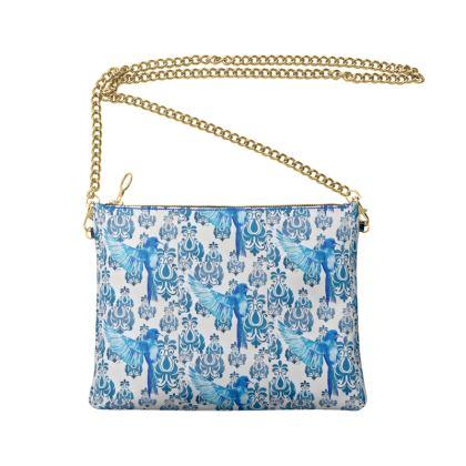 Blue Bird Crossbody Bag With Chain
