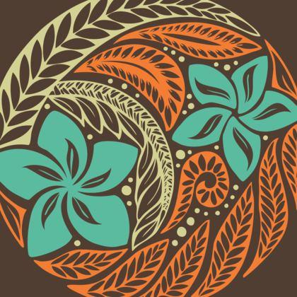 Brown Orange Hawaiian Maxi Skirt