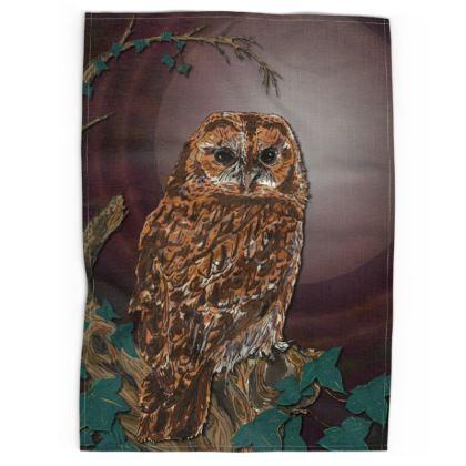 Tawny Owl Tea Towel