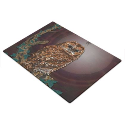 Tawny Owl Glass Chopping Board
