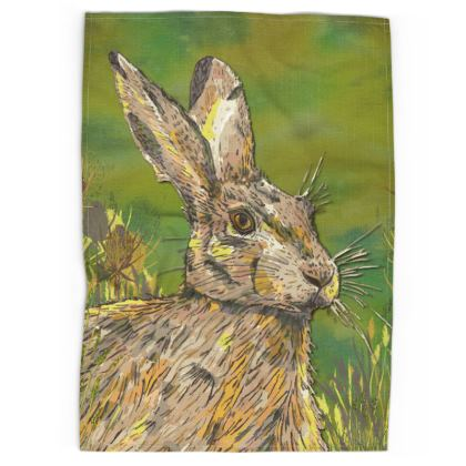 Summer Hare Tea Towel