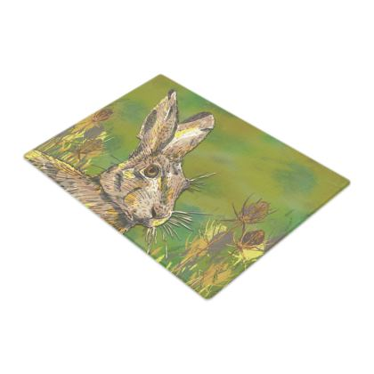 Summer Hare Glass Chopping Board