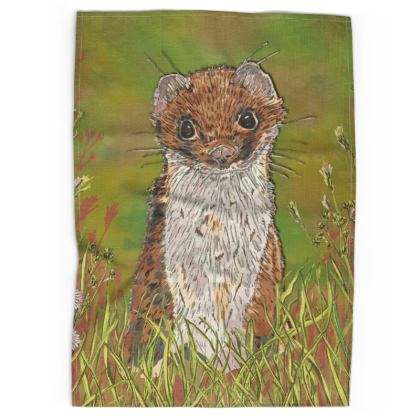 Summer Stoat Tea Towel