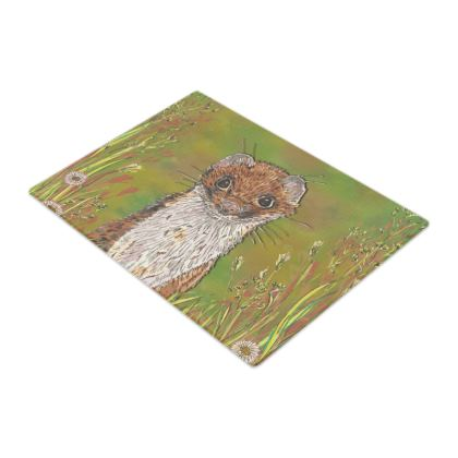Summer Stoat Glass Chopping Board