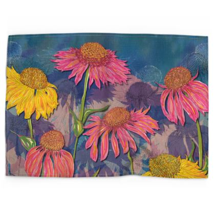 Colourful Coneflowers Tea Towel