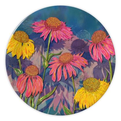 Colourful Coneflowers China Plate