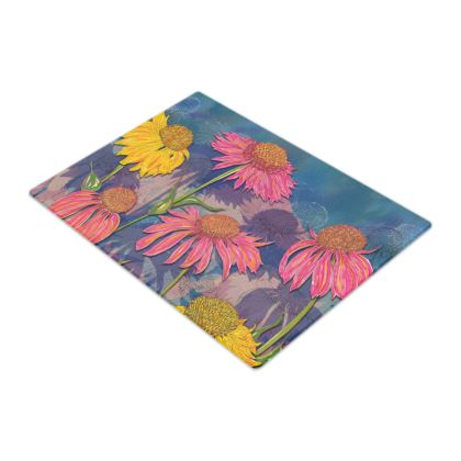 Colourful Coneflowers Glass Chopping Board