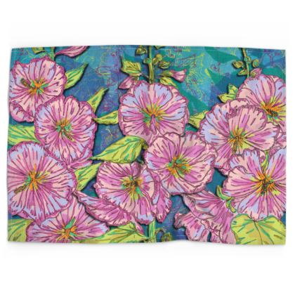 Hollyhocks Tea Towel