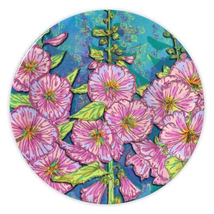 Hollyhocks China Plate
