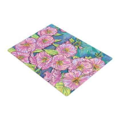 Hollyhocks Glass Chopping Board