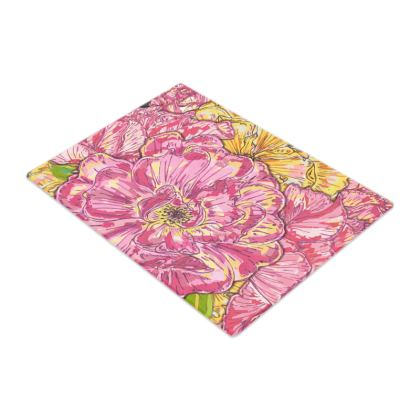 Summer Roses Glass Chopping Board