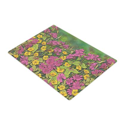 Summer Wildflowers Glass Chopping Board