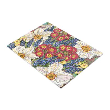 Spring Flowers Glass Chopping Board