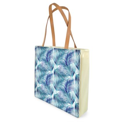 Tropical Garden Collection in Blue Shopper Bag