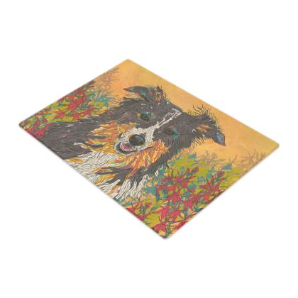 Border Collie Glass Chopping Board